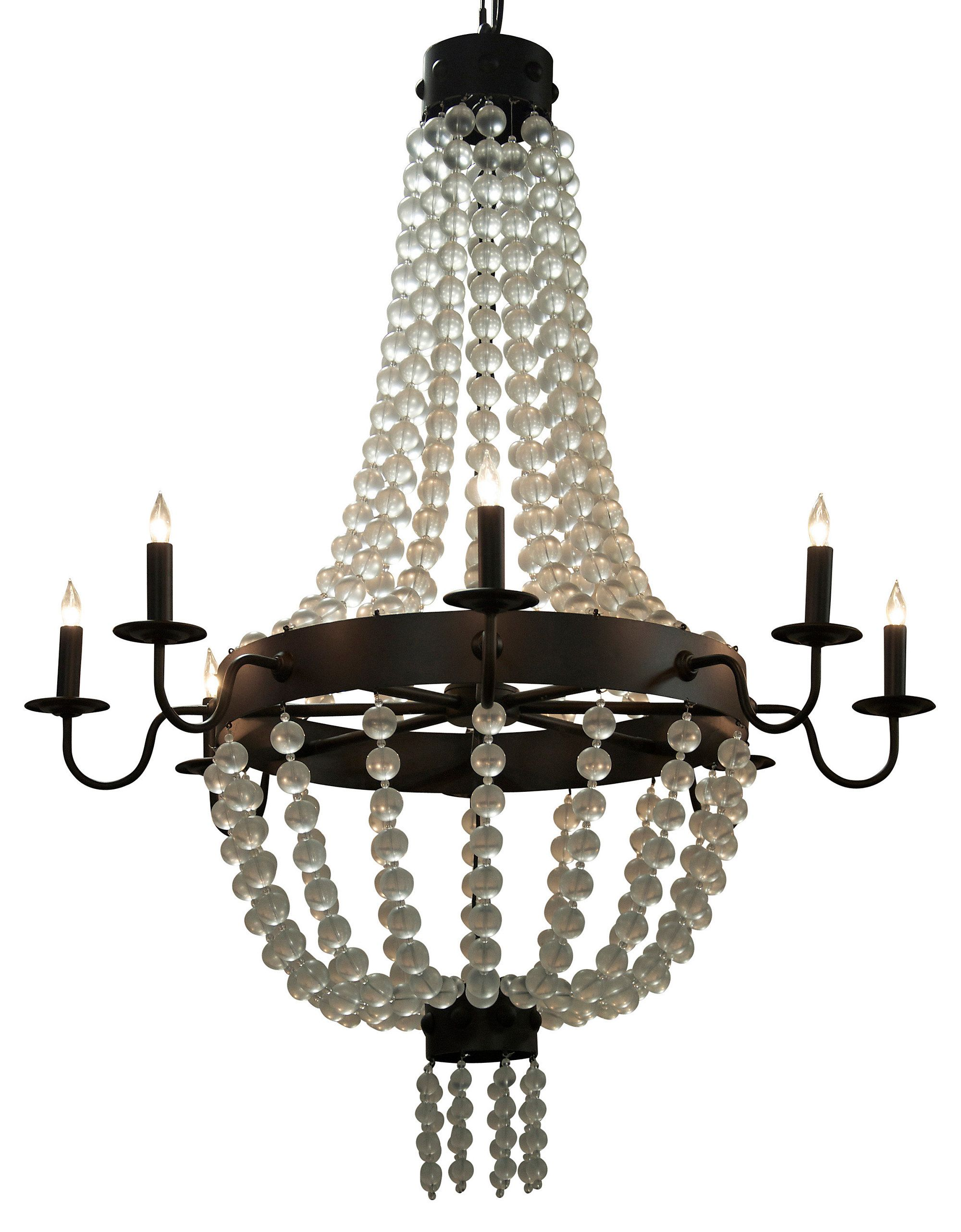 This industrial steel chandelier is made elegant and feminine when this industrial steel chandelier is made elegant and feminine when outfit with lavish layers of draped arubaitofo Gallery