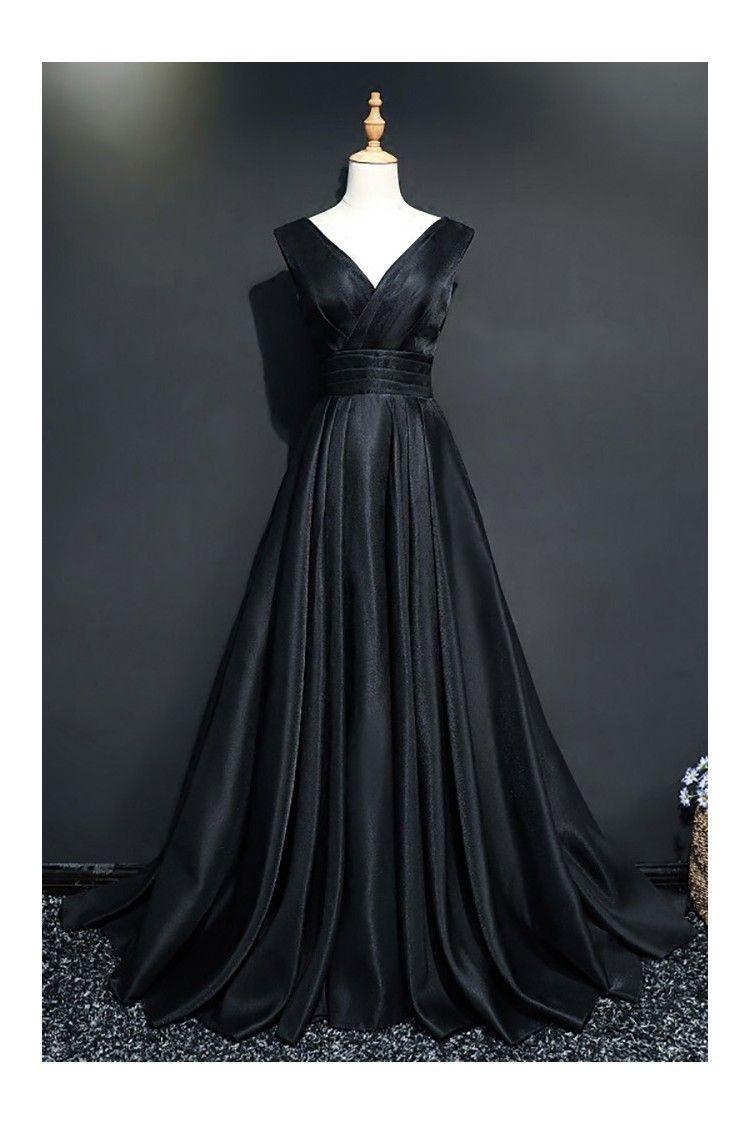 Classy vneck long black prom formal dress for women love for