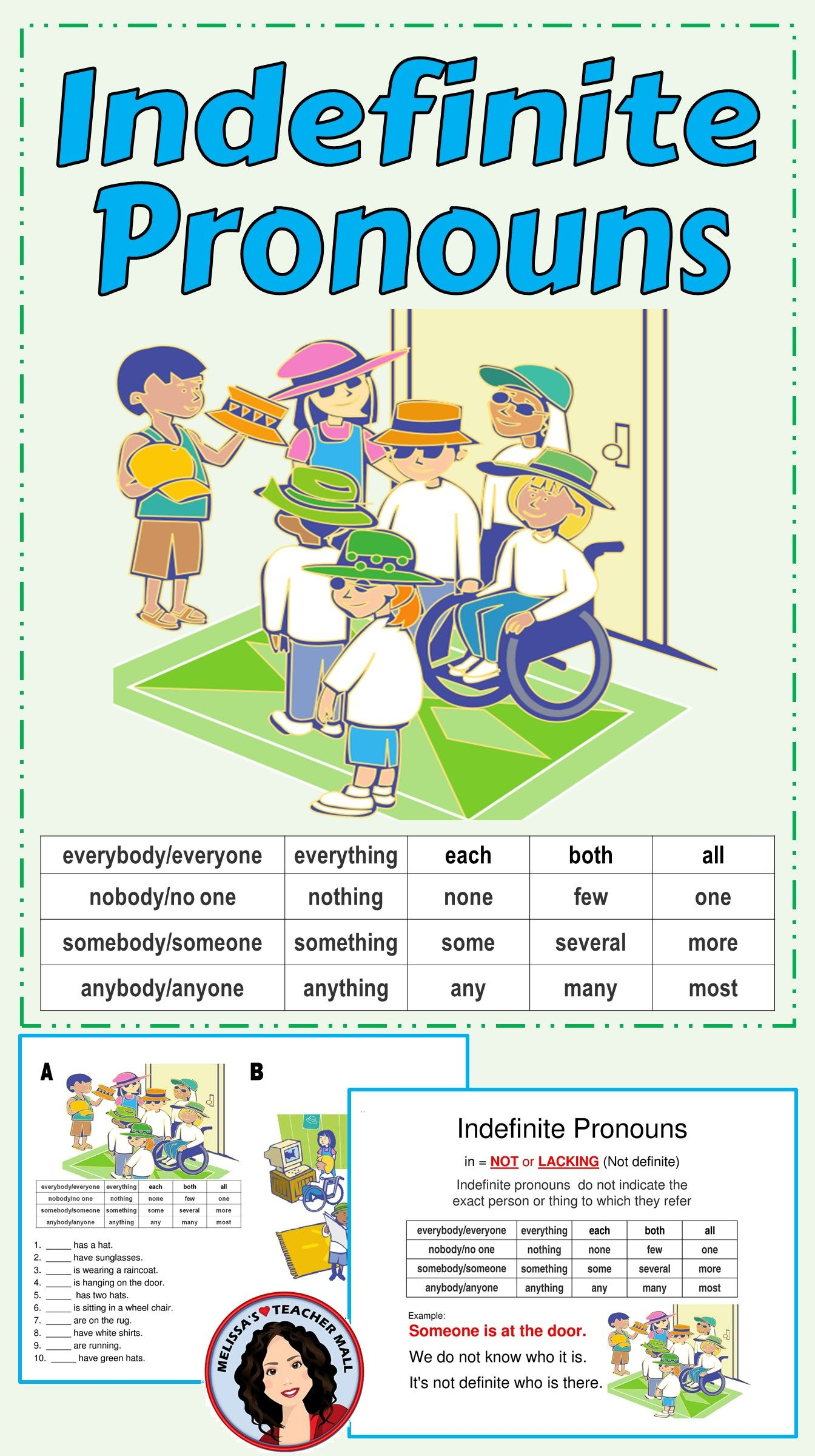 Indefinite Pronoun Center Activity For Small Groups Or