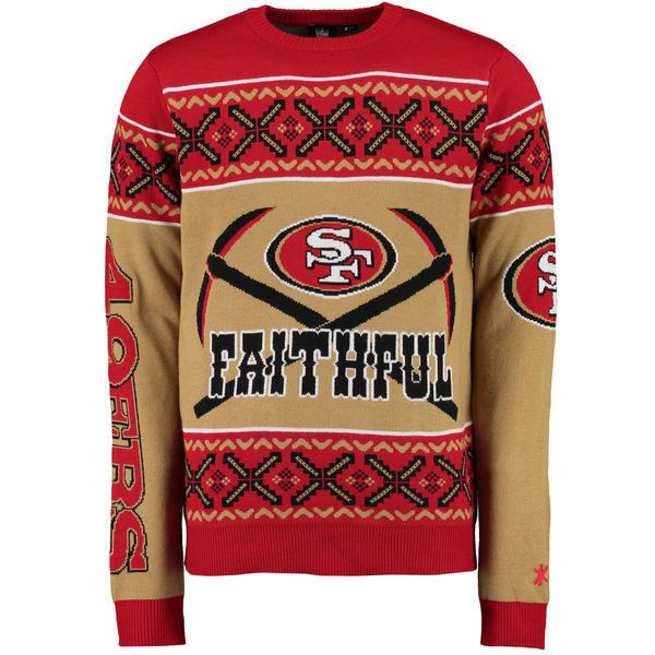 Unisex Klew Scarlet San Francisco 49ers Slogan Crew Knit Ugly