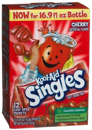 Amazon Com Kool Aid Singles Cherry For 16 9 Ounce Bottles 12 Count Packets Pack Of 6 Powdered Soft Drink Mixes Groc Mixed Drinks Kool Aid Trail Food