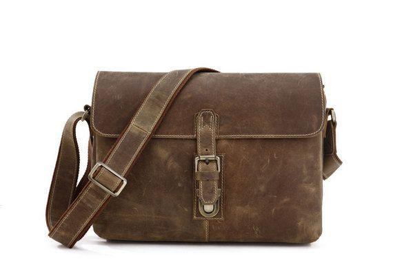 Mallette de cuir / Messenger / ordinateur portable / par Heavenbag, $99.00
