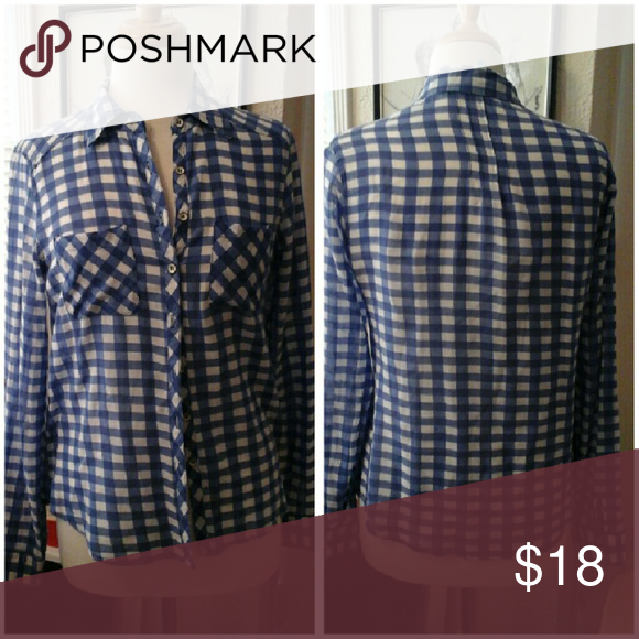 Adorable Top I'm Yours! Blue an white checks, long sleeves buttons up the front. Size small. 100% cotton.  Great condition.  Thanks! Olivia Moon Tops Button Down Shirts