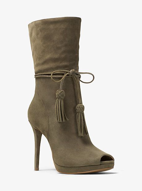 b475c9f89f3b Michael Kors Rosalie Suede Open-Toe Mid-Calf Boot http   shopstyle