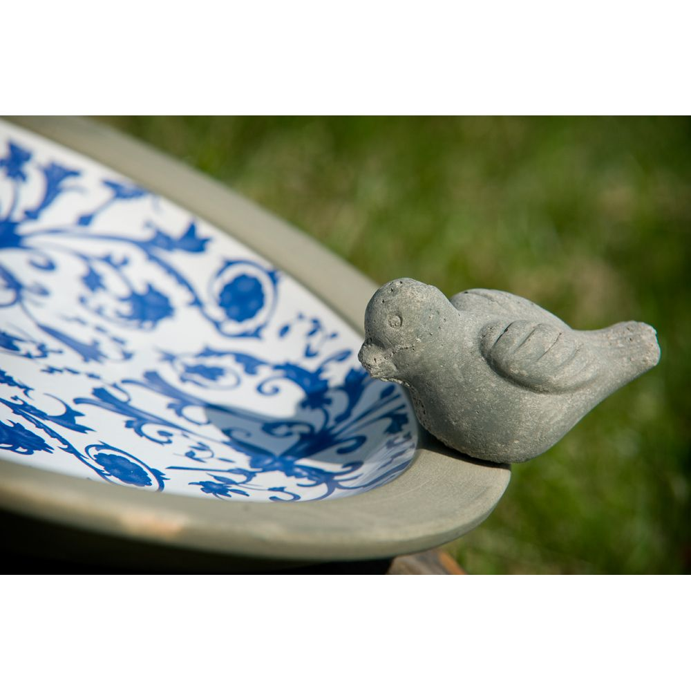 Blue and White Aged Ceramic Bird Bath  Glazed stoneware, with a weathered blue and white classical design