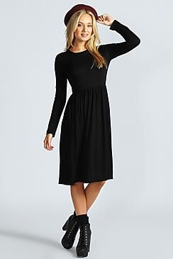 6a89341ba3c Boohoo Basics at boohoo.com. Mia Long Sleeve Midi Dress ...