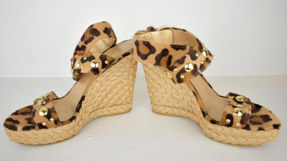 fad02669dcc Stuart Weitzman Wedge Heel Leopard Print Studded Sandal Size 8   StuartWeitzman  wedges
