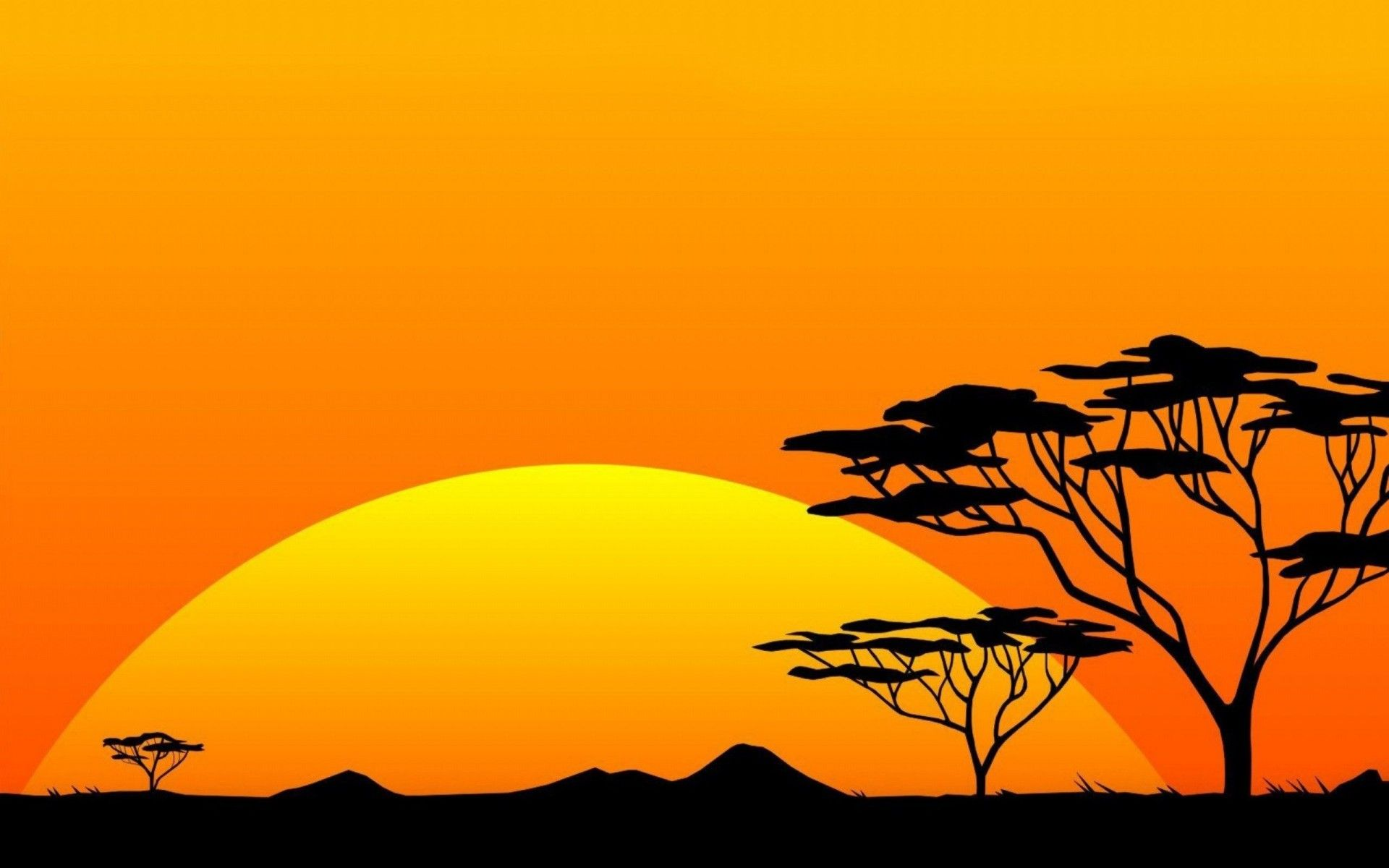 Vector Safari Sunset African paintings, Silhouette