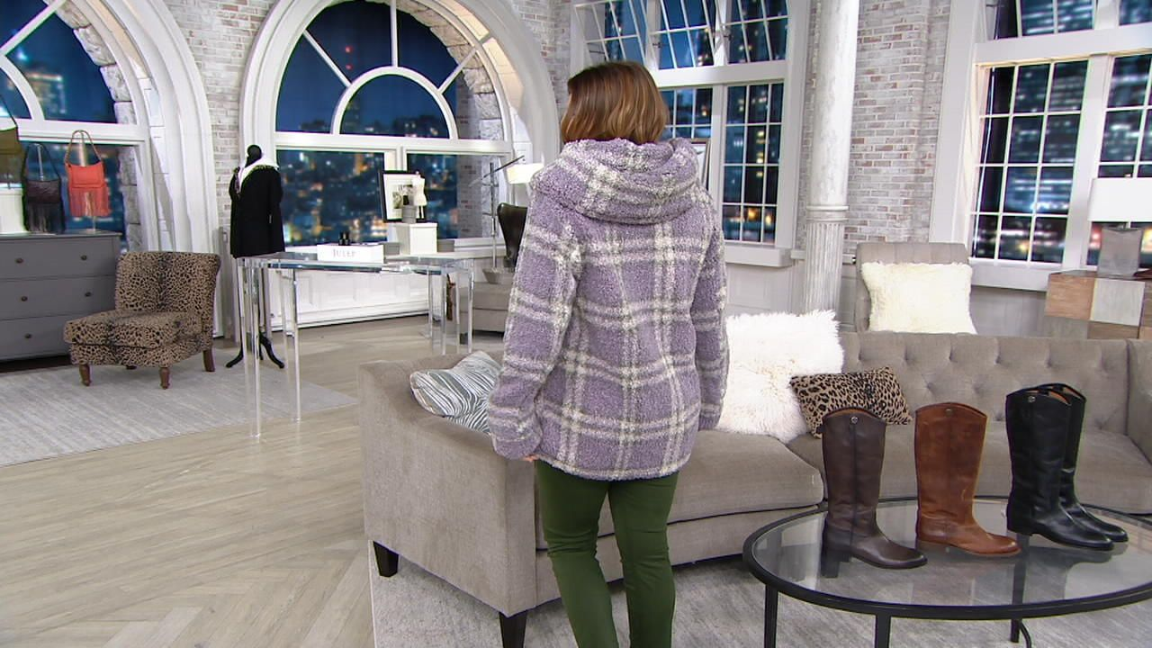 Centigrade Plaid Sherpa Jacket With Button Closure Qvc Com Sherpa Jacket Plaid Jackets [ 720 x 1280 Pixel ]