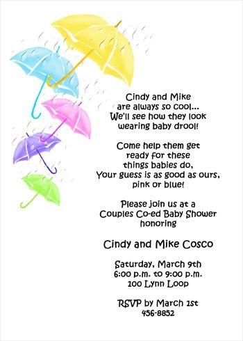 Coed Baby Shower Invitation Wording