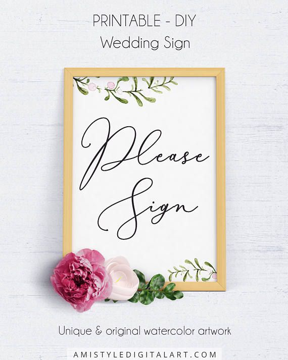 Please Sign Wedding Template, Wedding Signage, Wedding Reception - guest book template