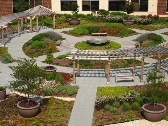 an aerial view of the garden from the adjacent parking structure shows the two symbolic concentric circles of life