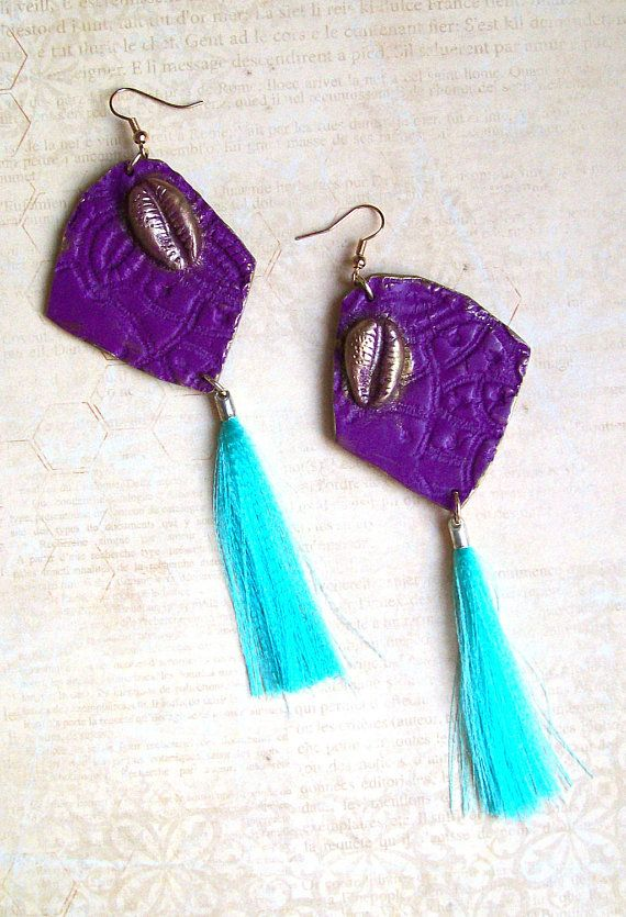 Geometric #chunky bold statement earrings #minimalistic #purple and teal fantasy #earrings with #tassels  HunkiiDorii quirky clay jewelry