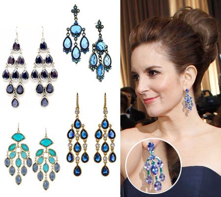 Tina feys chandelier earringsget the look blue crystals tina feys chandelier earringsget the look aloadofball Image collections