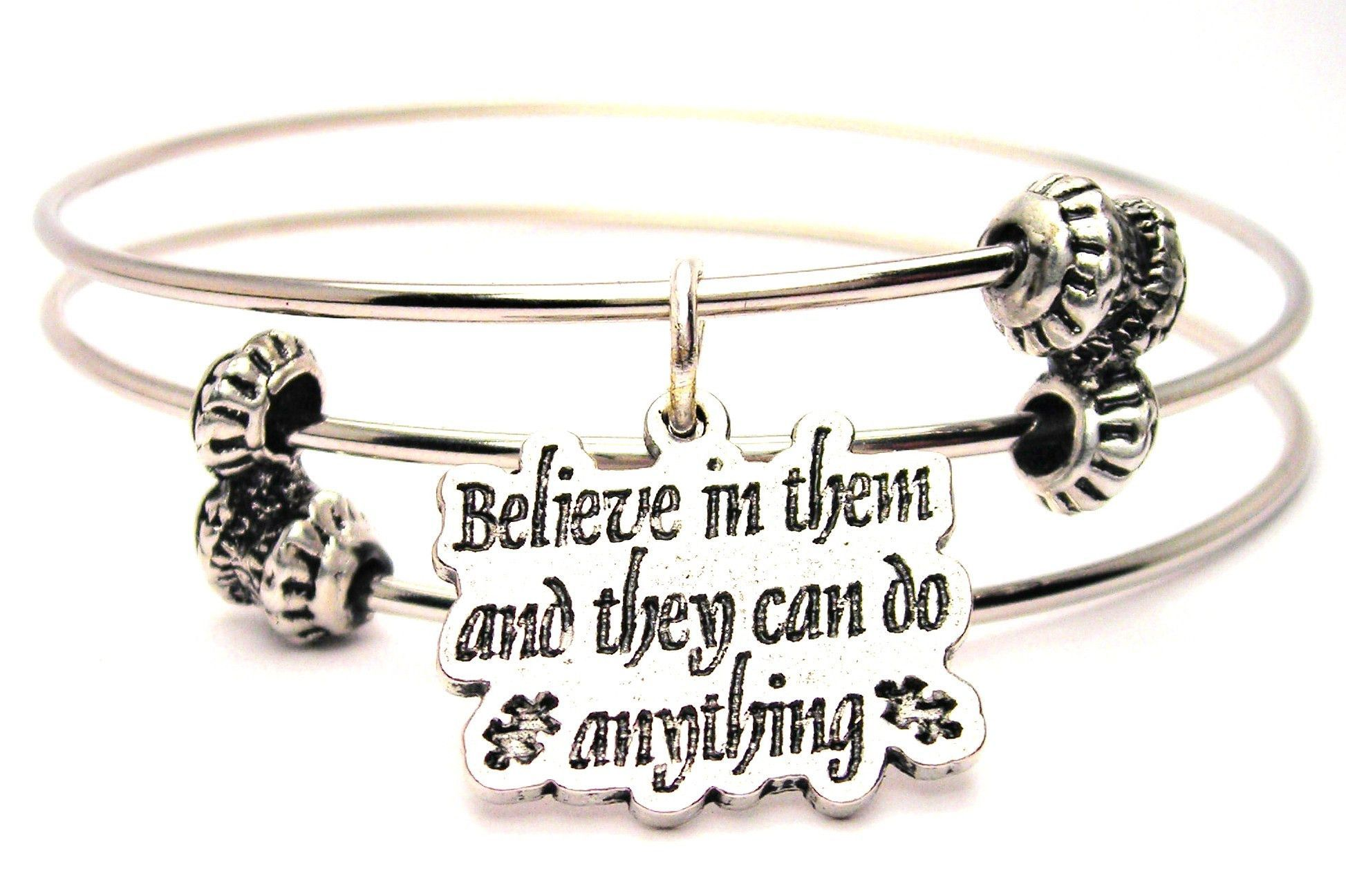Believe In Them And They Can Do Anything With Puzzle Pieces Autism Awareness Triple Style Expandable Bangle Bracelet