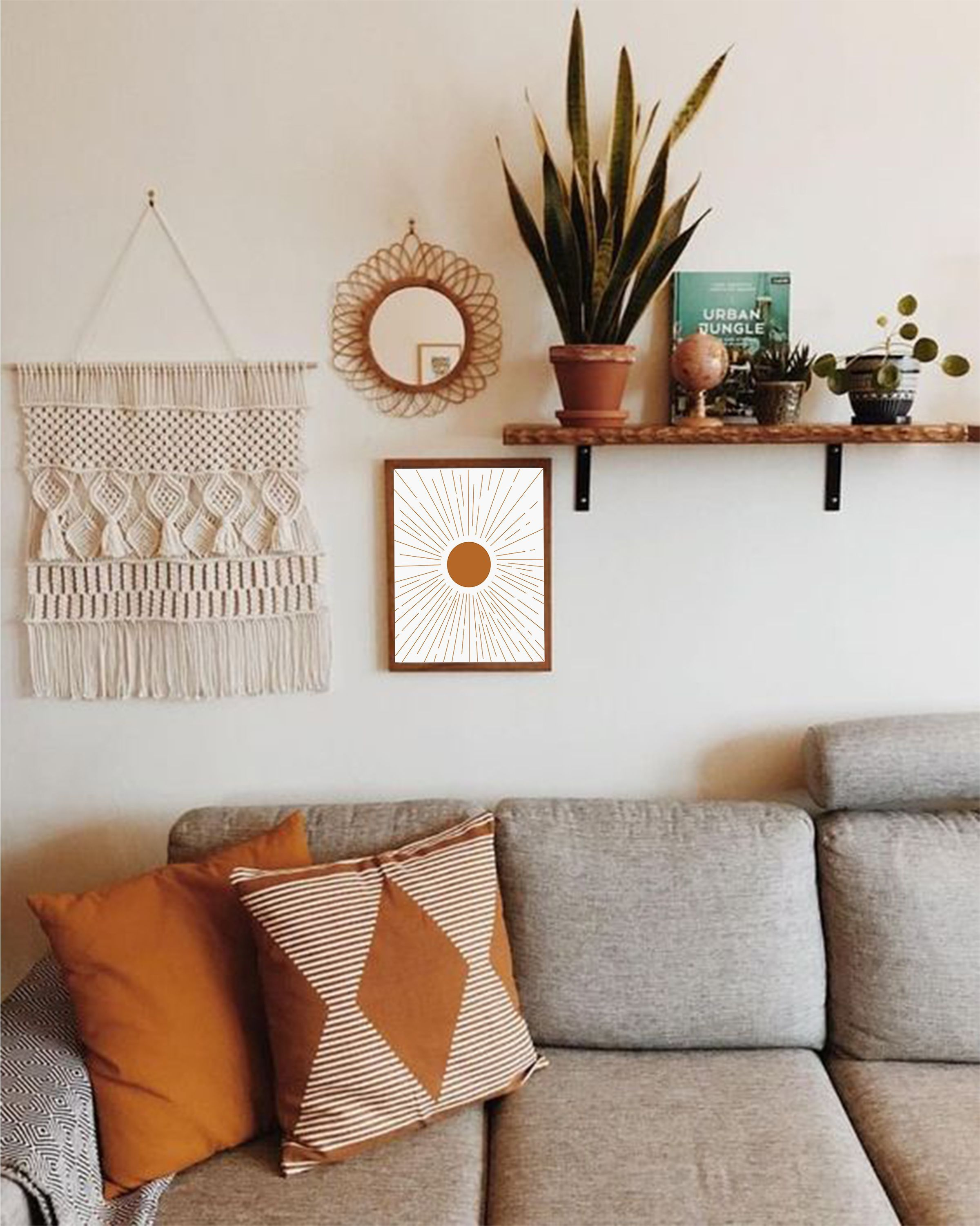 Photo of Burnt Orange Art Print, Living Room Wall Décor, Boho Bedroom Poster, Terracotta Wall Art