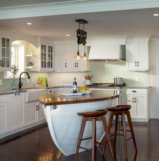 Kitchen   Island Or Counter Idea. Also Use Outline Or Rowboat Or Canoe  Shape In Ceiling By Using Different Depths In Ceiling.