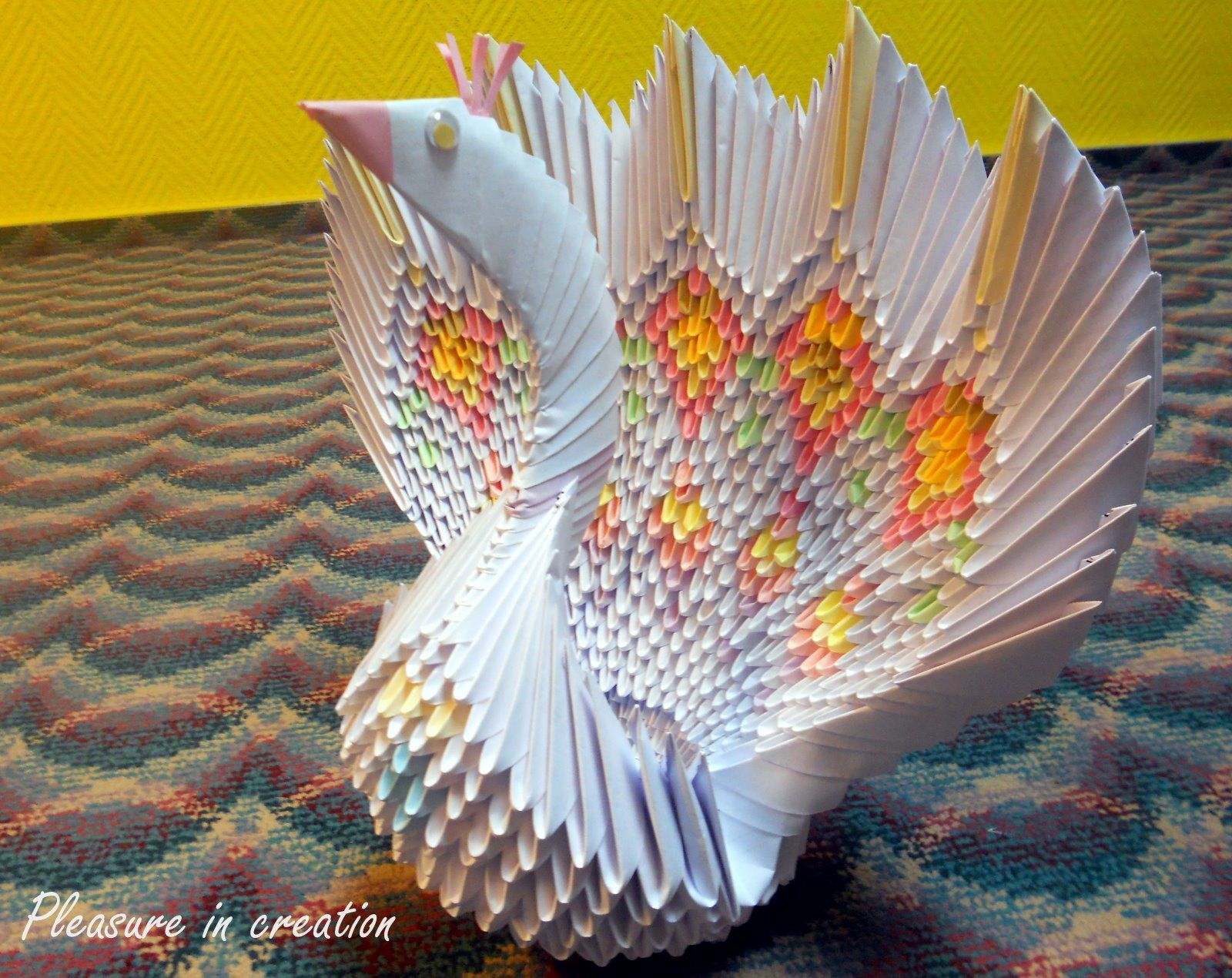 How To Make A Peacock With Paper-3d Origami Peacock With 19 Tails ... | 1270x1600