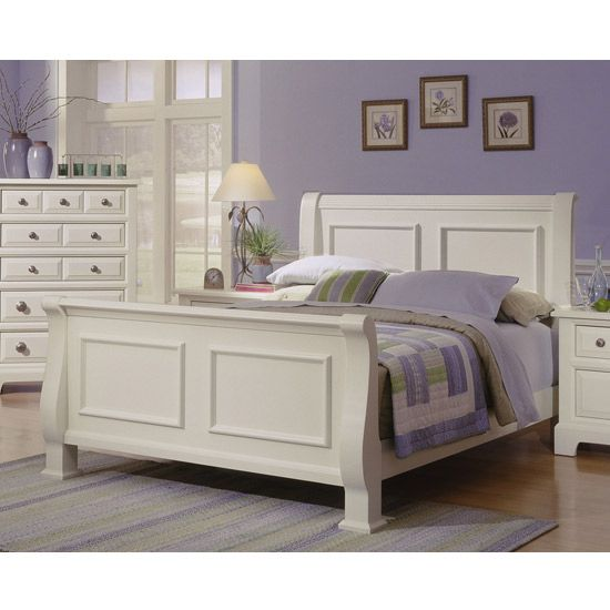 White Sleigh Bed By Vaughan Bassett Furniture,