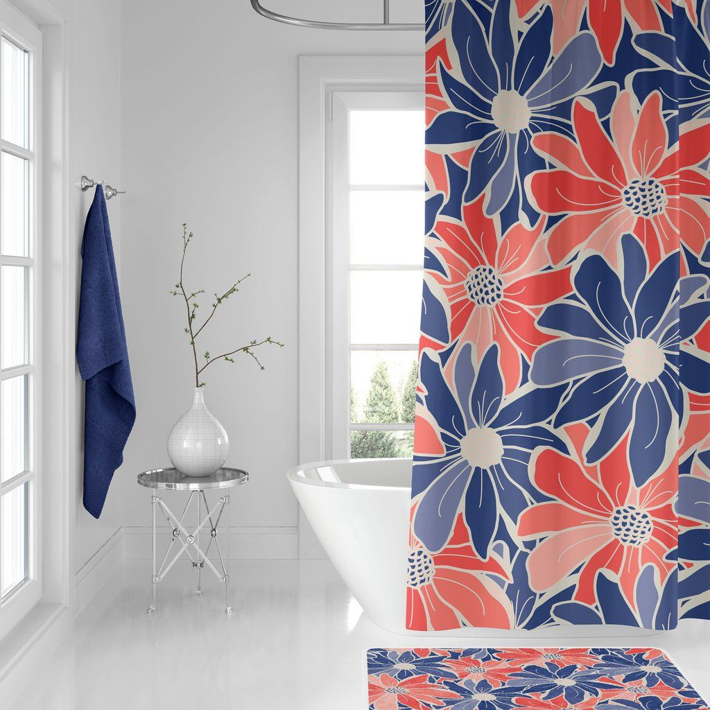Pin On Coral Shower Curtains