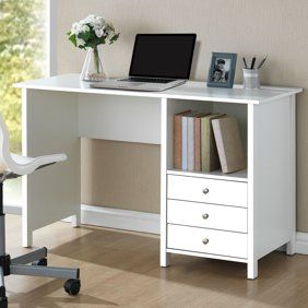 Monarch Computer Desk 60 L White Silver Metal Walmart Com In 2020 Cheap Office Furniture Desk With Drawers Desk Storage