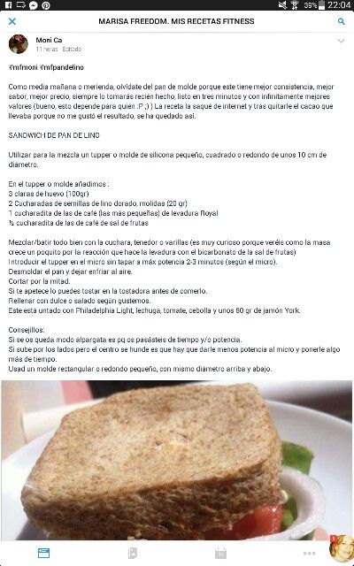 Pan Sandwich De Lino Pan Para Sandwich Sandwiches Y Recetas Fitness