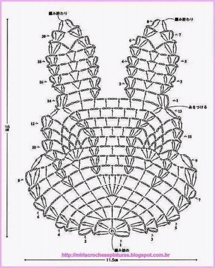 Głowa zająca(×2, połączyć trzema oczkami łańcuszka