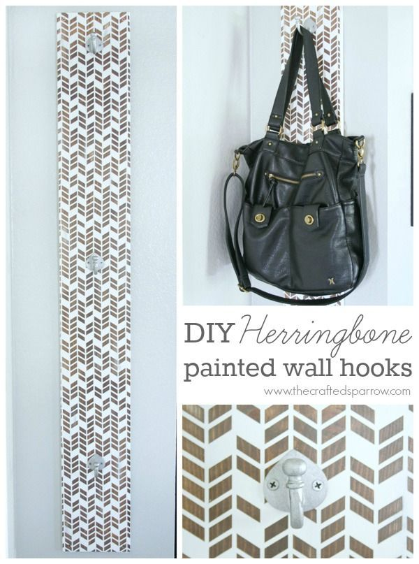 DIY Herringbone Painted Wall Hooks - thecraftedsparrow.com
