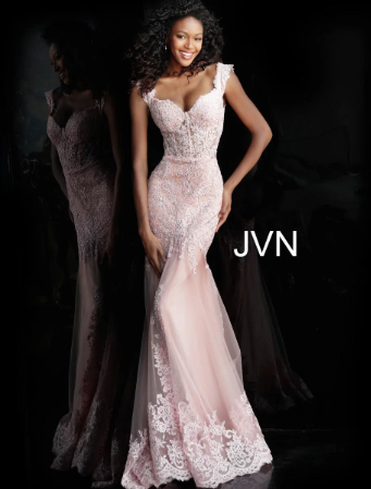 jovani  off the shoulder mesh lace beaded gown jvn65688