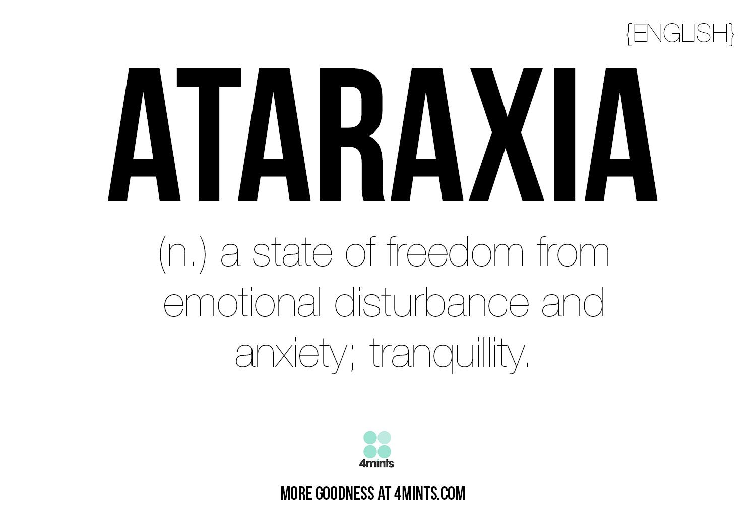 Words: Ataraxia. word porn. language
