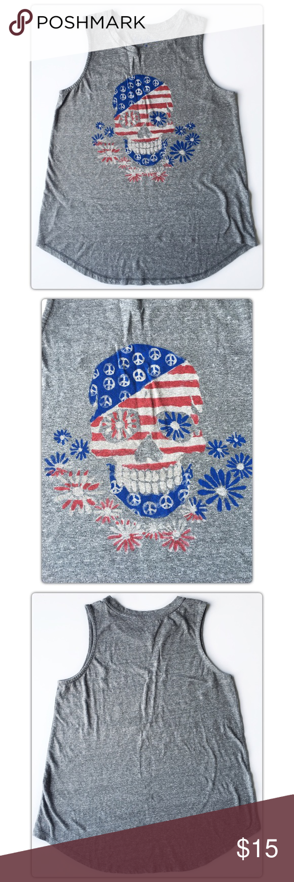 Lucky Brand American Flag Skull Size Medium Lucky Brand  American Flag Skull Tank Top/Muscle Tee Size Medium Loose fit  Excellent Pre-owned condition. Lucky Brand Tops Muscle Tees