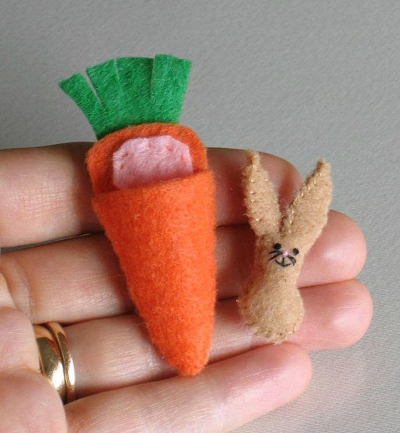 Tiny bunny miniature felt stuffed animal plushie playset with carrot bed