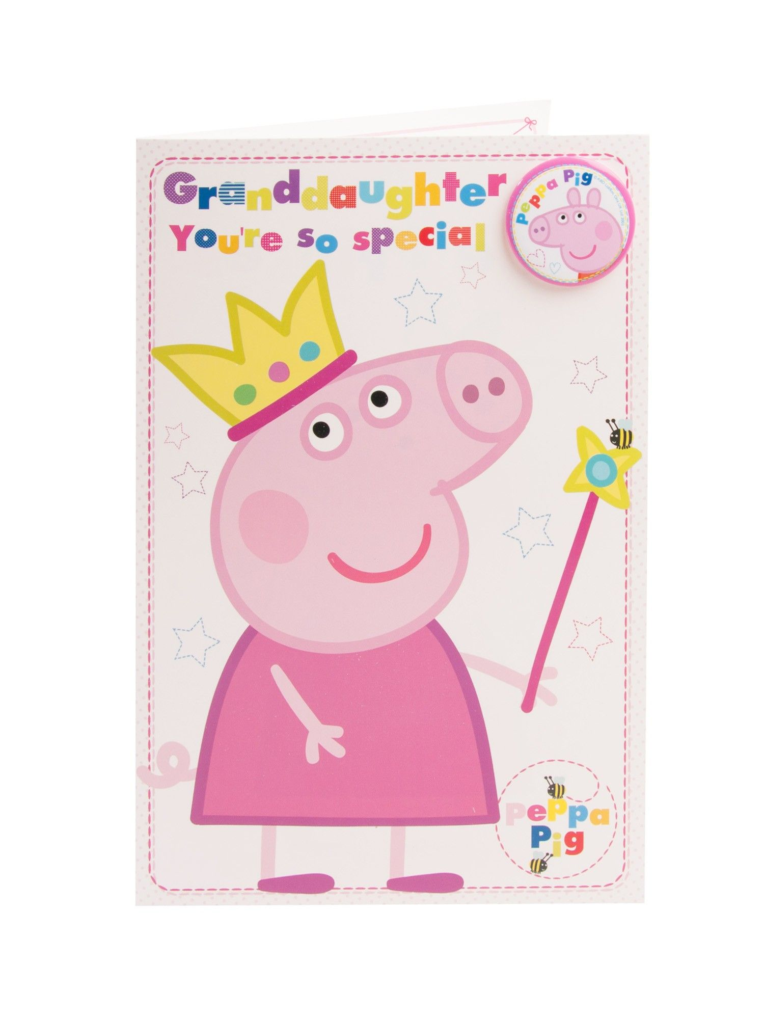 Cute Peppa Pig Granddaughter Birthday Badge Card