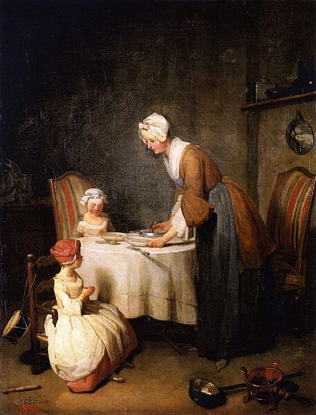 Saying Grace, 1774, oil on canvas by Jean-Baptiste-Simeon Chardin, French, 1699-1779. Painting is in the State Hermitage Museum in St. Petersburg, Russia, and in the Musee du Louvre in Paris.