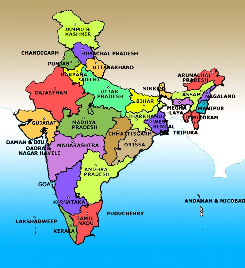 Map Of India Hd Colours full India map | India in 2019 | India map, India travel, Map