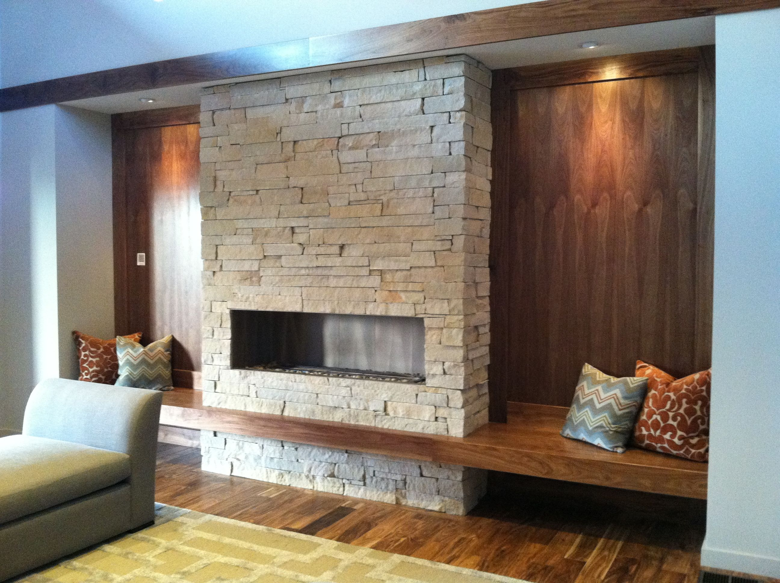 Fireplace and built in bench from prairie style home for Prairie style fireplace