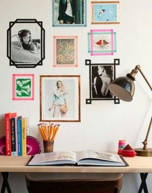 washi tape bilderrahmen noch mehr tolle masking tape ideen gibt es auf. Black Bedroom Furniture Sets. Home Design Ideas