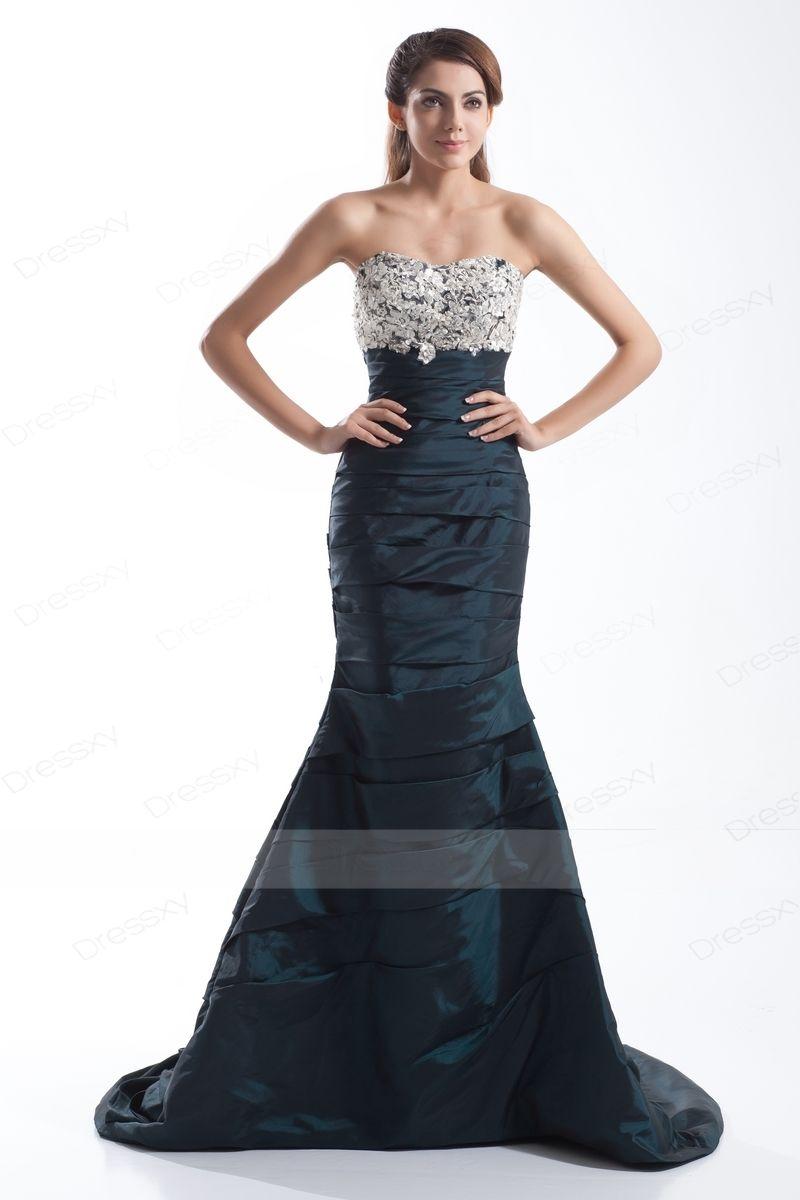 Grand Trumpet / Mermaid Appliques Taffeta Evening Dresses ...