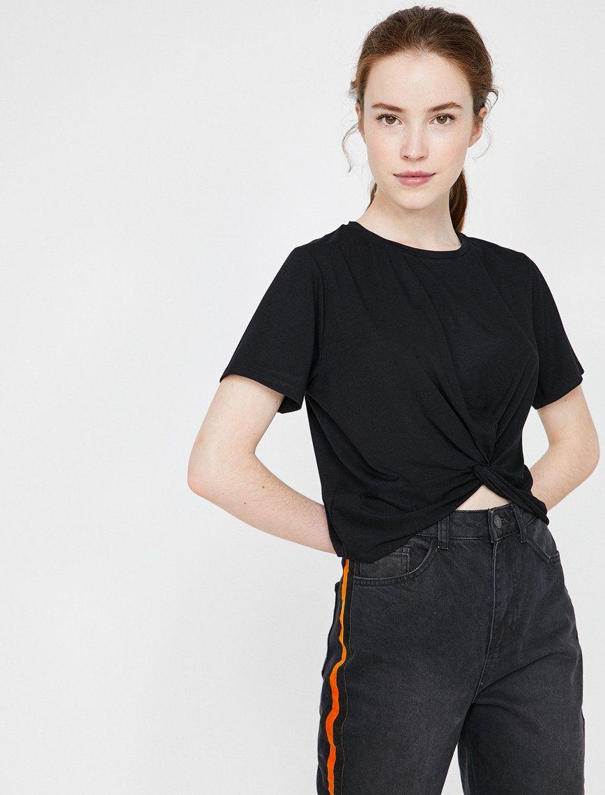 Buzgulu T Shirt Kadin Kis Siyah