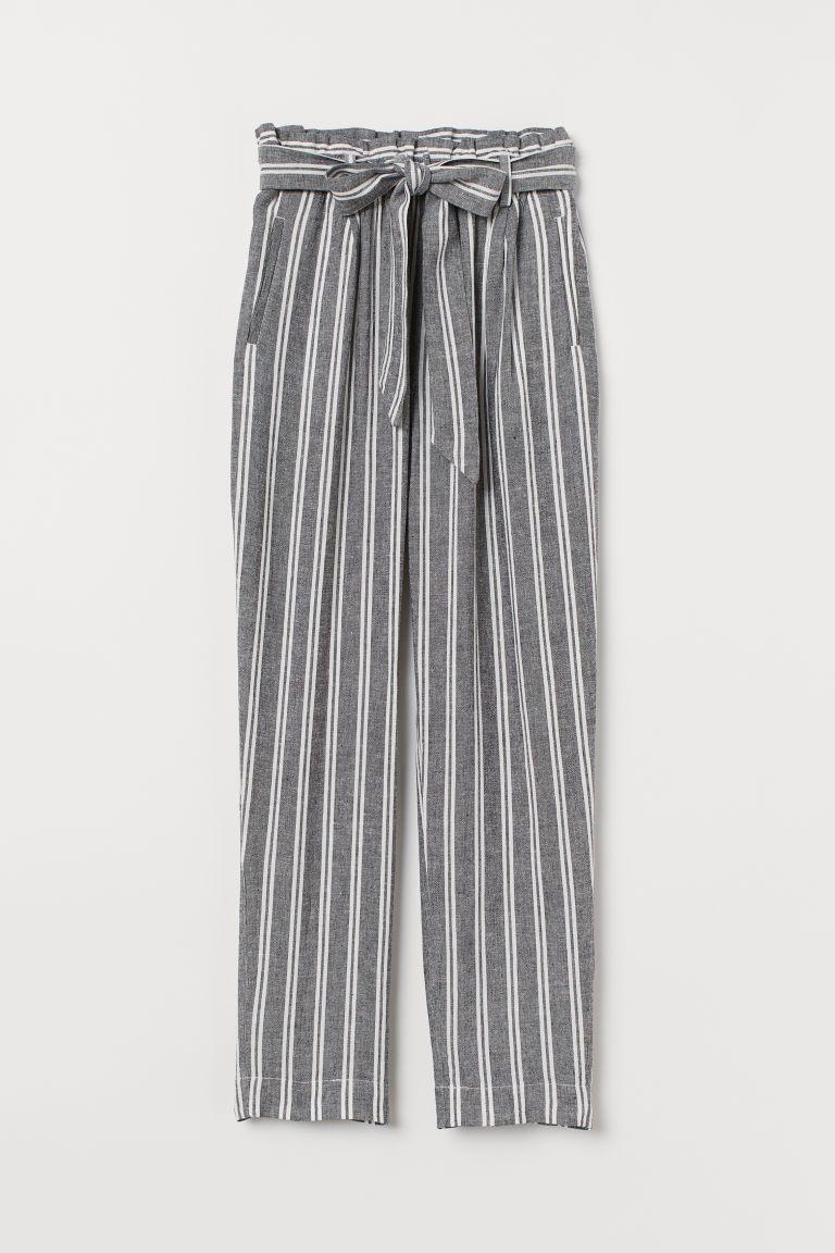 7066b9ea7b H&M Linen-blend Paper-bag Pants - Black in 2019 | Over 50 Fashion ...
