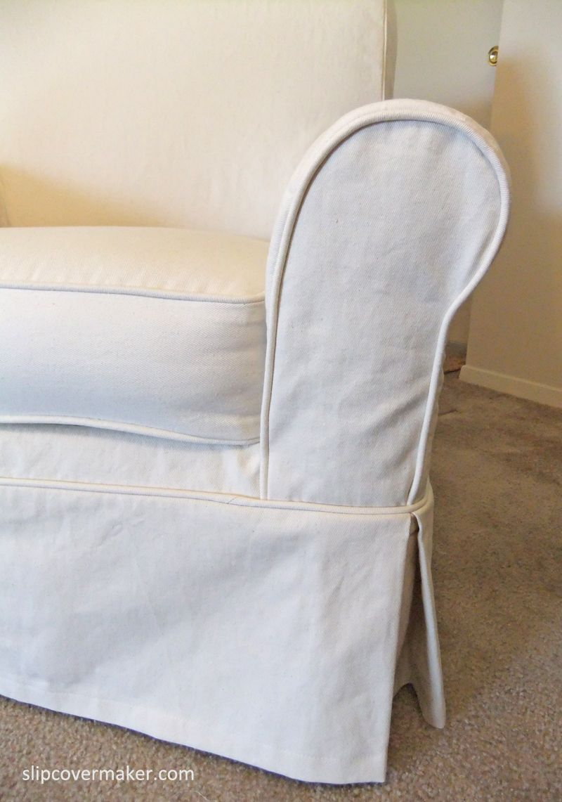 Diy Chair Slipcover No Sew Mlg Gaming Custom With Tailored Skirt. Fabric: 12 Oz. Yale Natural Denim. | Libby's Denim ...