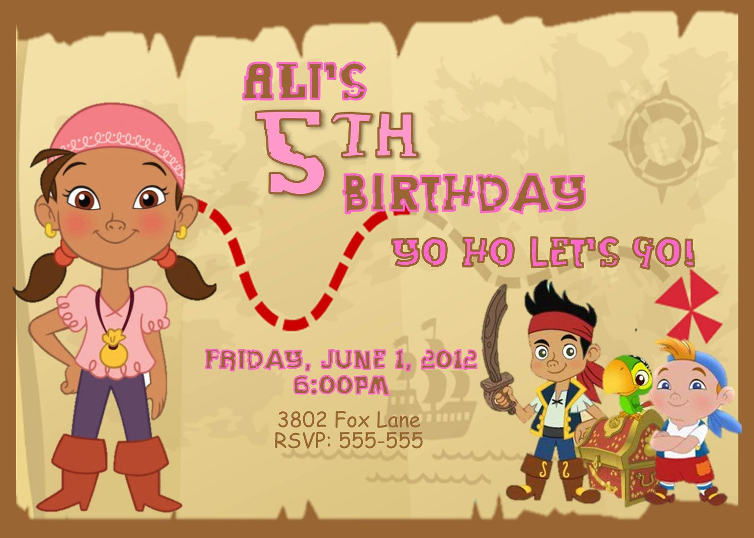 Jake and the Neverland Pirates Birthday Party Invitation Featuring ...
