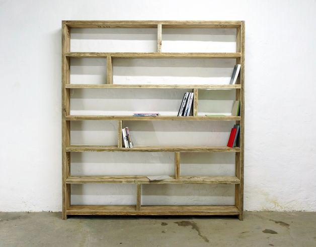 b cherregale b cherregal aus altem bauholz regal 200 x 200 ein designerst ck von up cycle. Black Bedroom Furniture Sets. Home Design Ideas