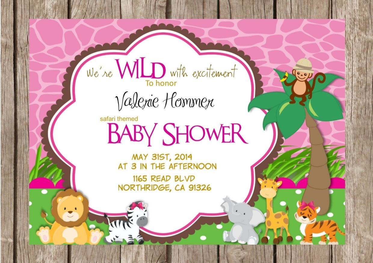 Pink Safari Baby Shower Invitation Templates Braylon