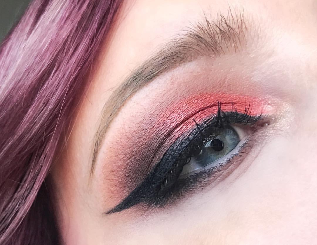 Orange Peach Cut Crease With Morphe 350 Winged Eyeliner Eyebrows