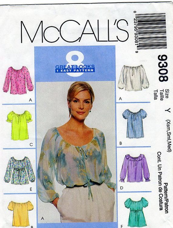 868a4e369062 Womens Peasant Top McCalls 9308 Sewing by FindCraftyPatterns ...