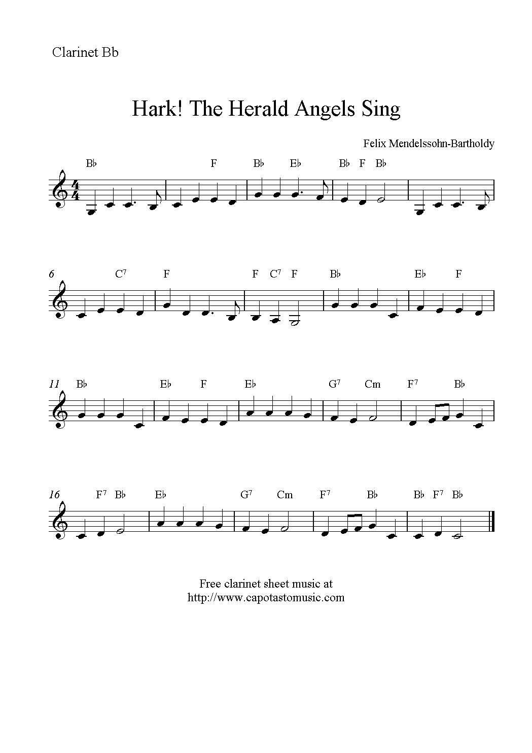 Peaceful image in free printable clarinet sheet music