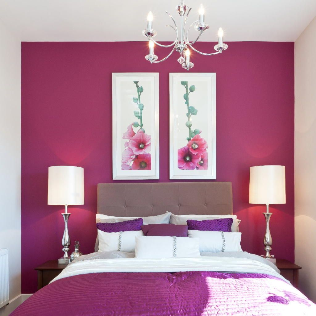 21 Bedroom Paint Color Combinations For Latest Trends Hot Pink Bedroom Paint With Crystal Chandelier And Two Ta Hot Pink Bedrooms Purple Bedrooms Pink Bedrooms