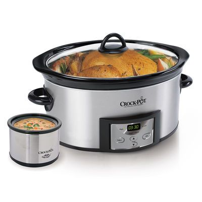 Crock-Pot® Countdown Digital Slow Cooker with Little Dipper® Warmer, Silver at Crock-Pot.com.  I WANT THIS