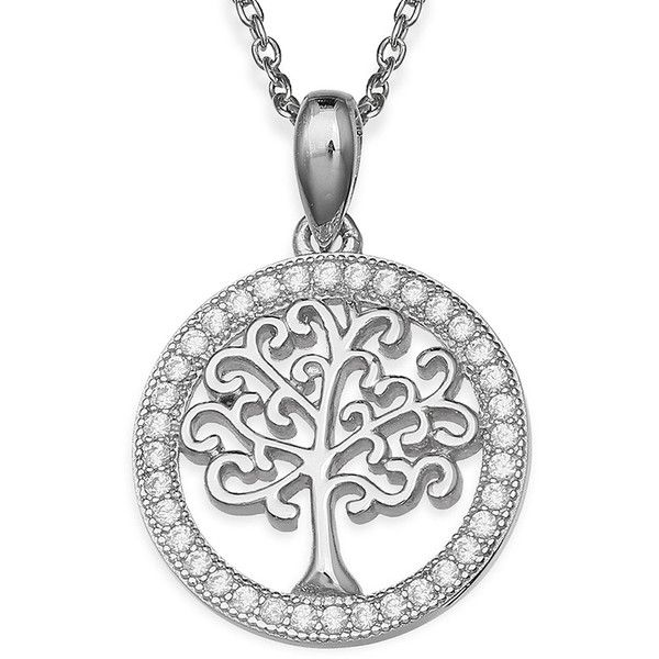 Silver Enchantment™ Cubic Zirconia Family Tree Pendant Necklace ($30) ❤ liked on Polyvore featuring jewelry, necklaces, pendant jewelry, cubic zirconia jewelry, long necklace pendant, long pendant necklace and cz necklace